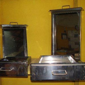 Gaveta de inox para churrasqueira